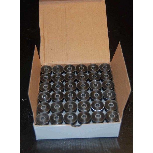 Plastikspoler med undertråd sort L style 144 stk.