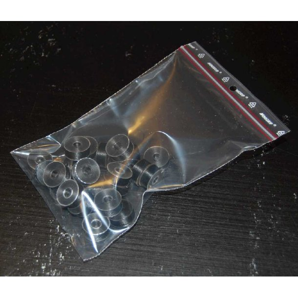 Plastikspoler med undertråd sort L style 25 stk.